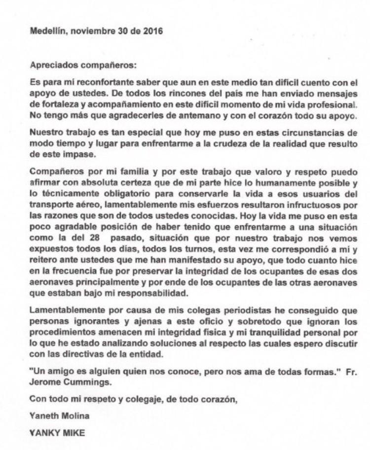 carta controladora Yaneth Molina