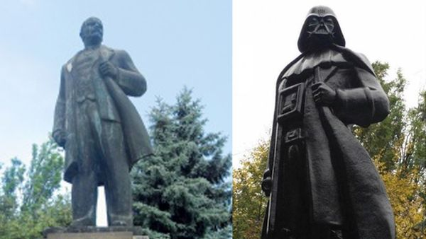 Estatua de Lenin transformada en Darth Vader